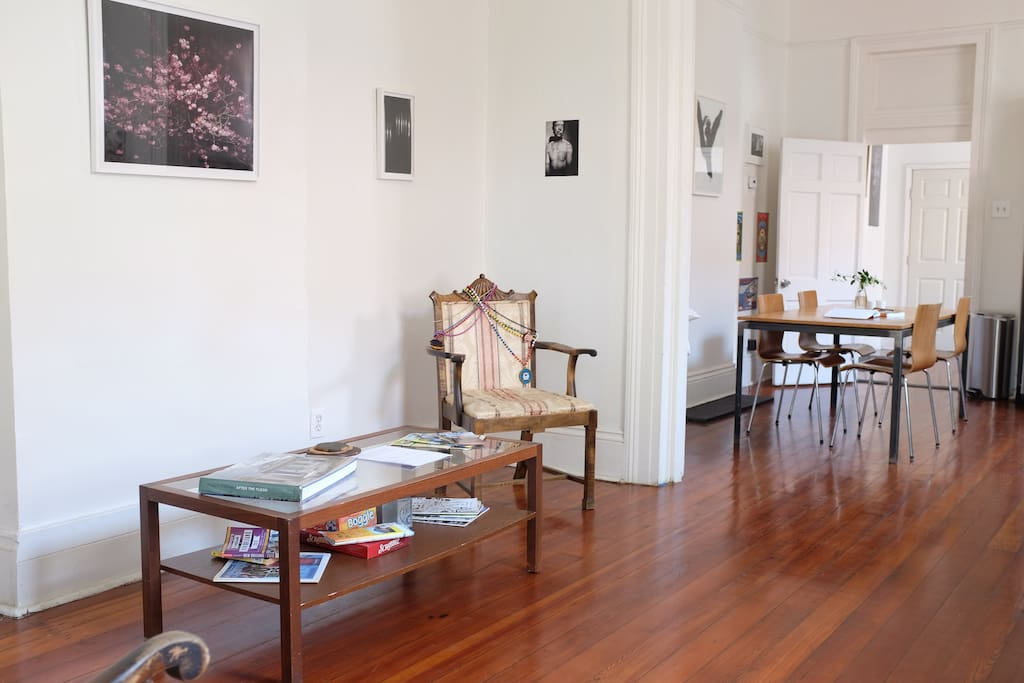 Enjoy the high ceilings and mix of contemporary artwork with a bit of NO history