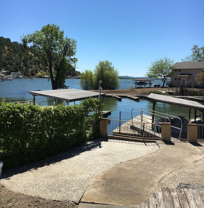 View from the patio. Covered boat dock and spacious area for relaxing.