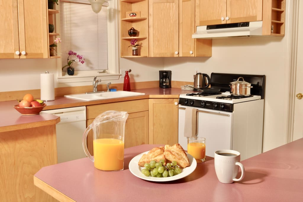 We've taken the time to ensure that your kitchen has everything you need: dishwasher, fridge/freezer, microwave, blender, toaster, and all necessary cooking utensils!
