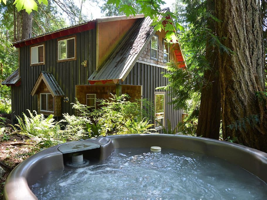 Relax amongst the trees in your private outdoor hot tub!