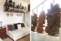Sofa-bed and retro decoration in studio, Arcadia