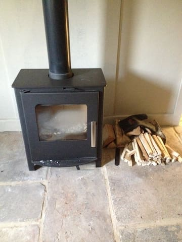Our brand new and very cosy wood burning stove.