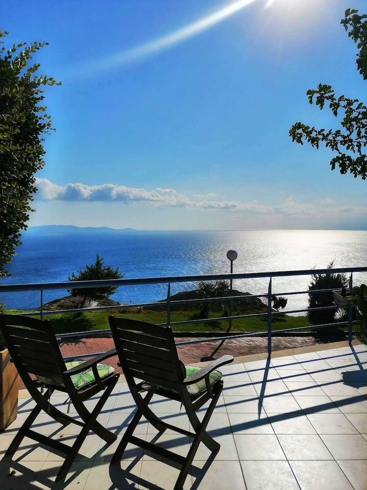 Luxurious Villa Ariadni with private beach amazing view