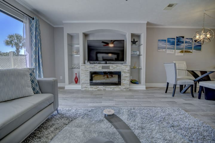 Fireplace, 60 inch TV