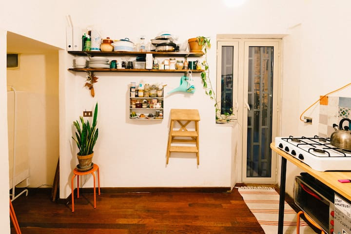 Little room in house with terrace on the roofs