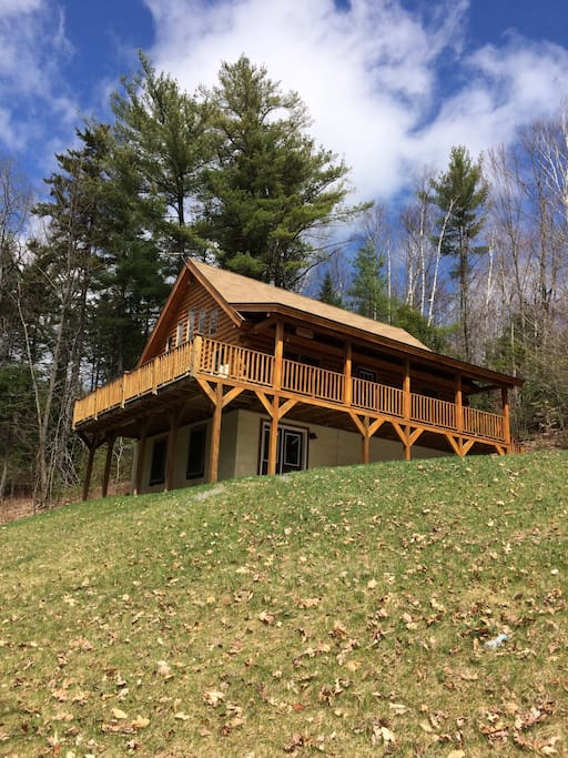 Beautiful custom log cabin near white mountains cabins for New hampshire log cabins
