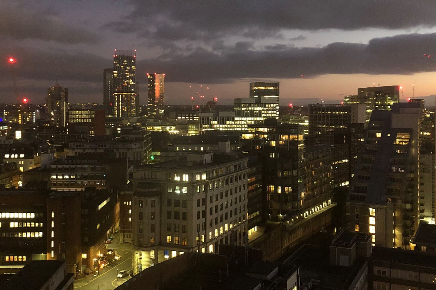 The stunning view of central Manchester, from your bedroom.