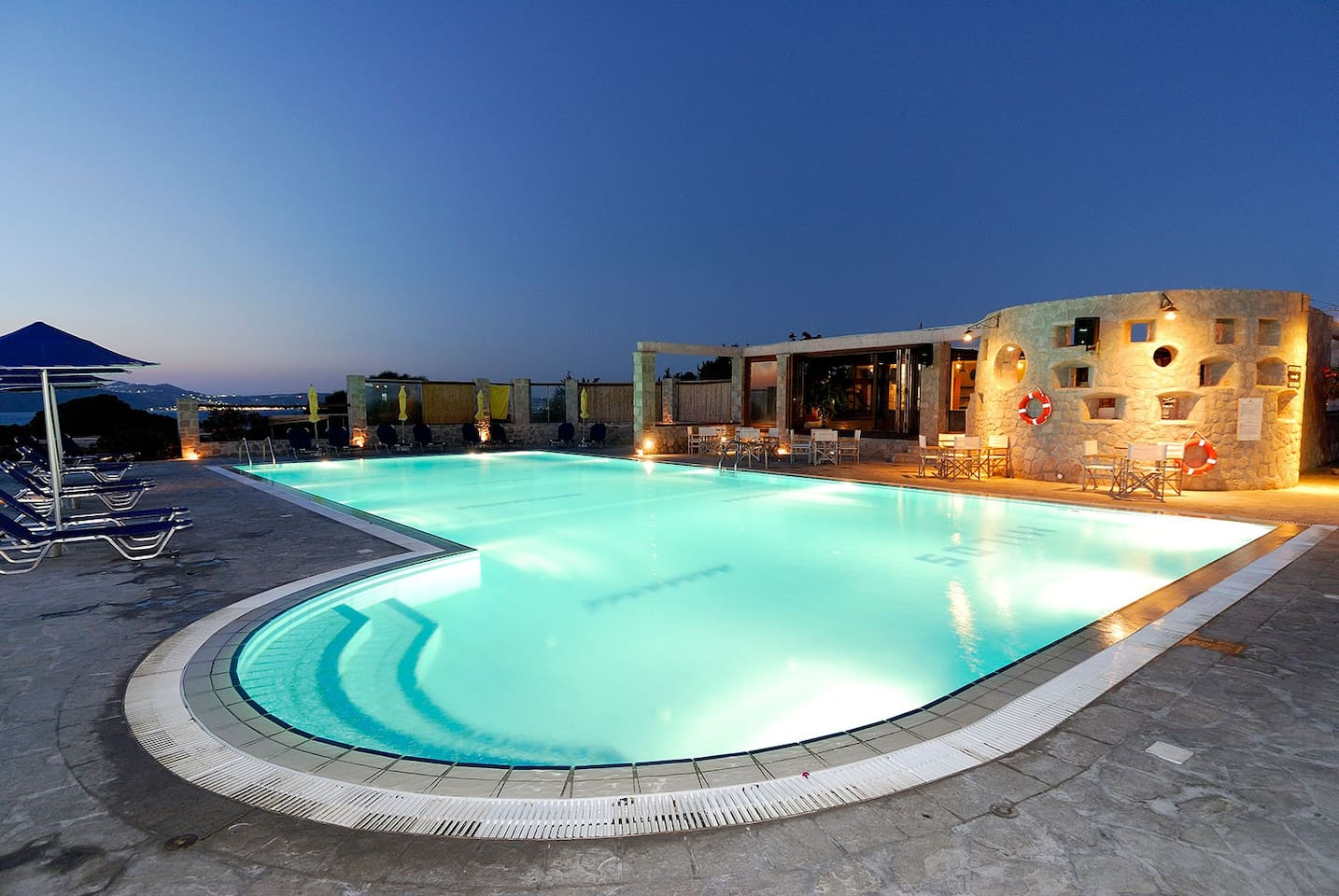 Shared swimming pool night view