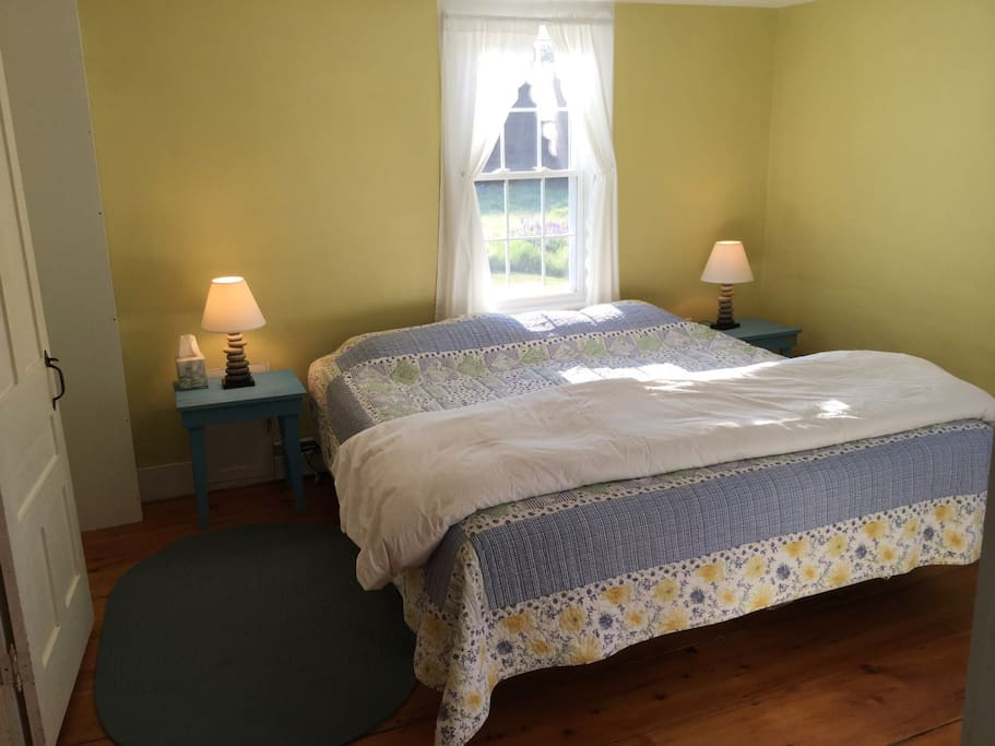 This is a pictue of the master bedroom, which is on the first floor, and has a king sized bed.