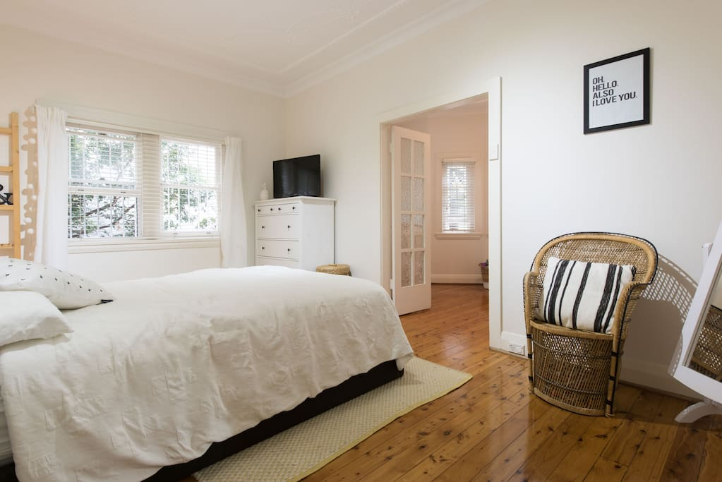 Comfy Queen size bed, spacious bedroom leading onto nursey
