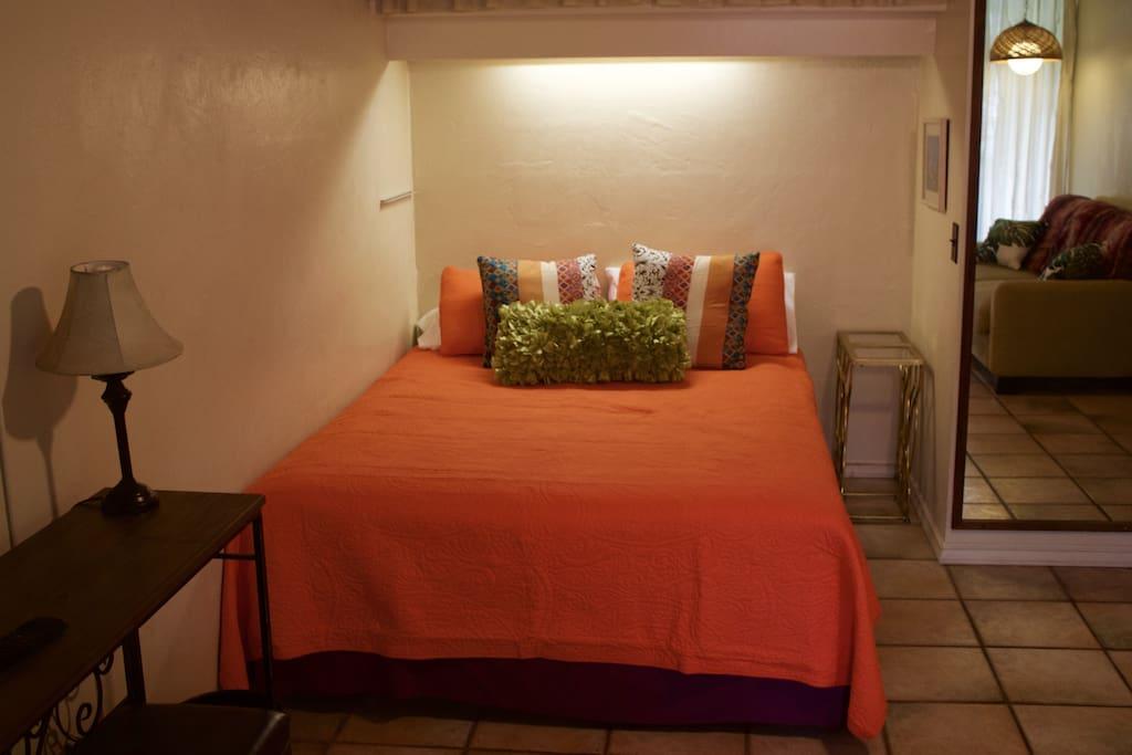 Comfy queen bed.