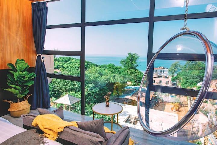 涠洲岛Angaria海景民宿·海景套房(两室一厅),近滴水丹屏沙滩和鳄鱼山景区,一晚包接两晚包接送