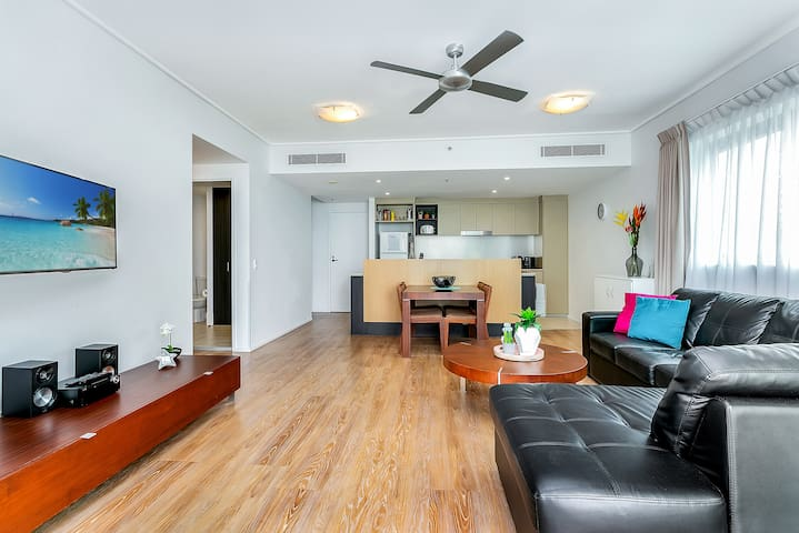 Large smart TV with Netflix access, Foxtel and tons of free to air channels, DVD player/stereo in the living area