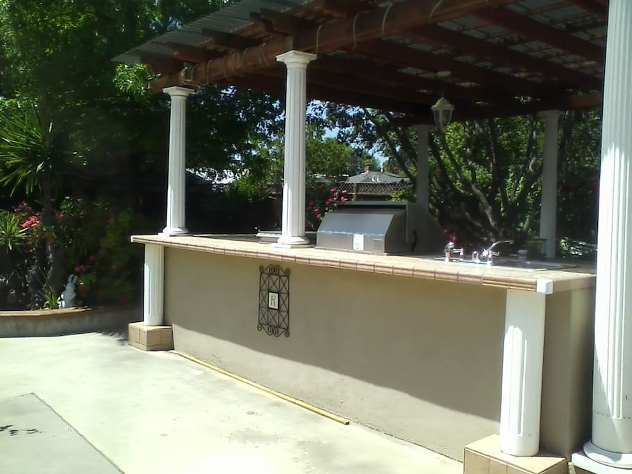 Outdoor bar and barbeque area