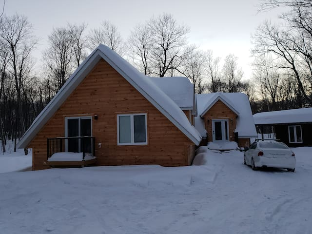 View of front entrance and gable end of house, a winter wonderland.