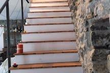 Ingresso scala di cotto antico e pietra