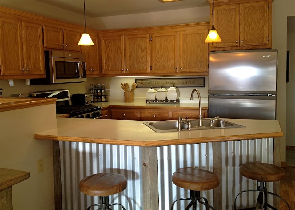 Open updated kitchen and bar