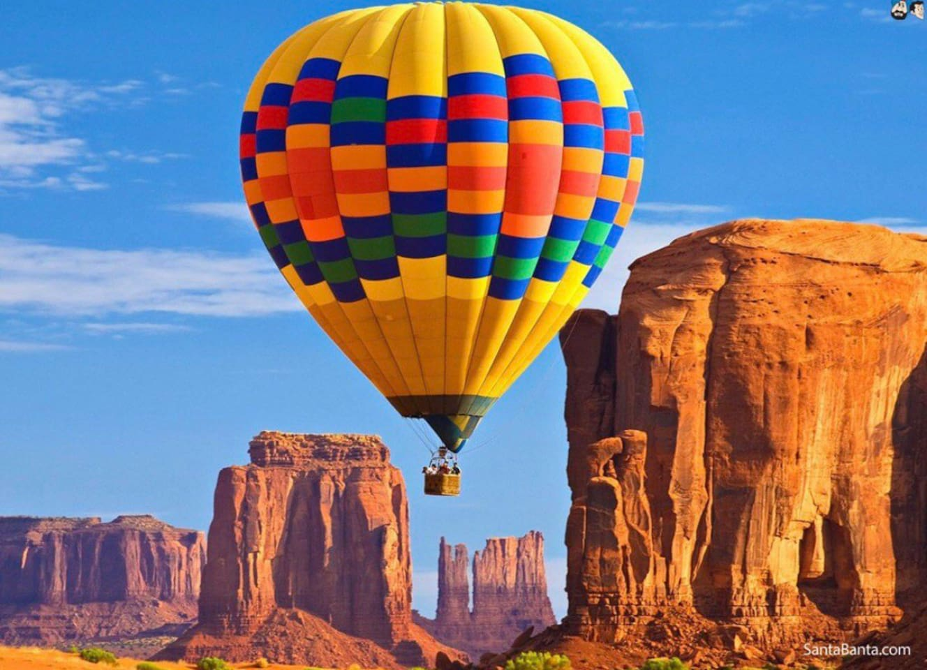 Stunning views through the red rock monuments from the hot air ballon ride!