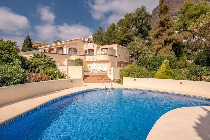Uniquely located villa, private swimming terraces, view over Javea and the Montego