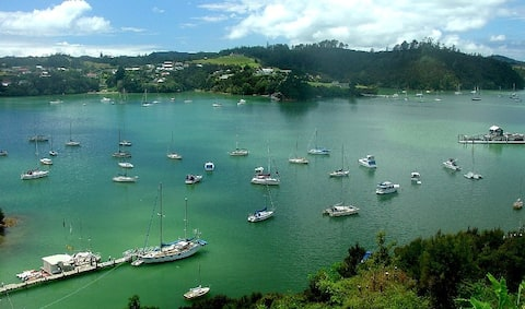 "The Bay of Islands' Opua Harbour ~ as view from your Endless Summer Holiday Home private deck & ""Captain's Quarter's"" master bedroom & living room."