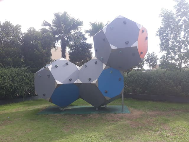 Art installation beside the swimming pool area