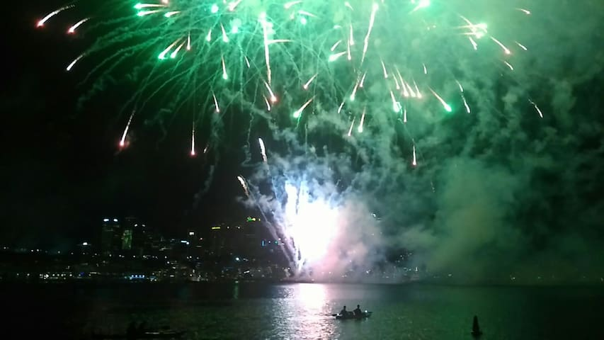 New years Eve Sailing under the fireworks