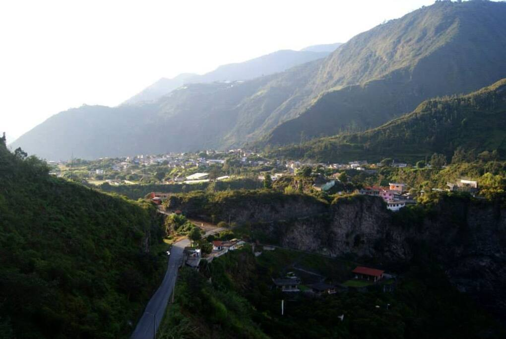The spectacular view of Baños and the canyon from the house.