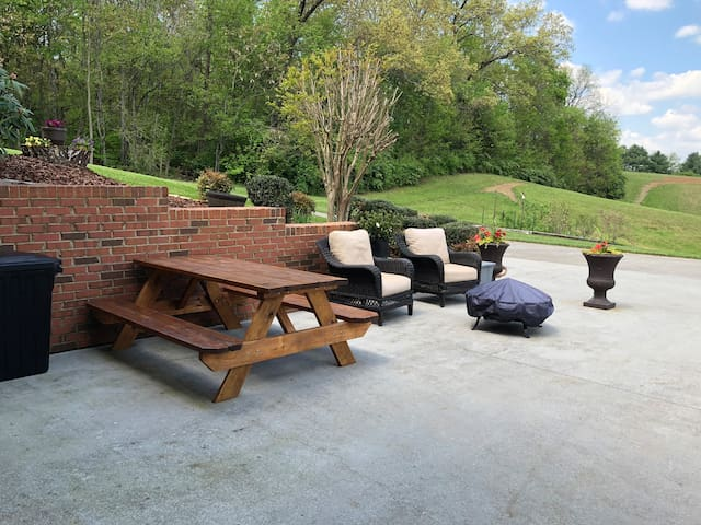 My guest outdoor patio and parking area.