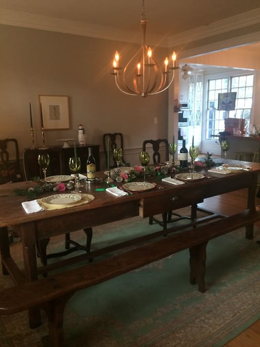 Dining room with French farmhouse table