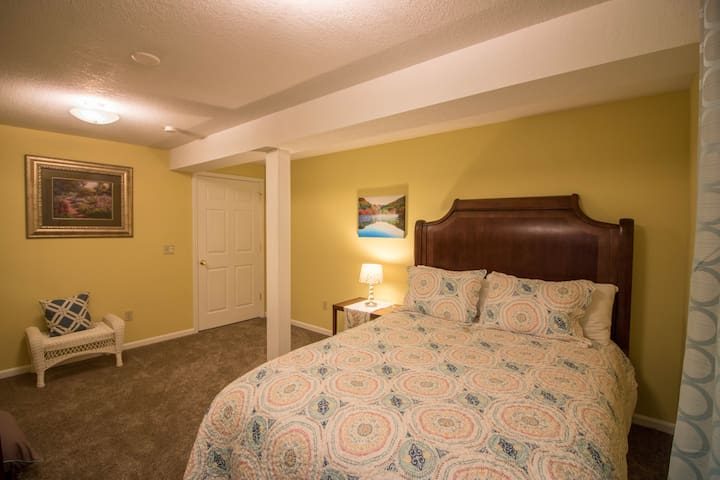 The walkout bedroom-in the walkout basement suite-the quietest room in the whole house!