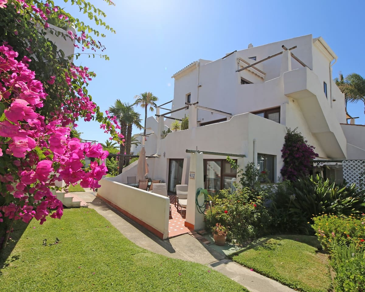 View of the apartment from the gardens in Costa Natura, Estepona naturist complex