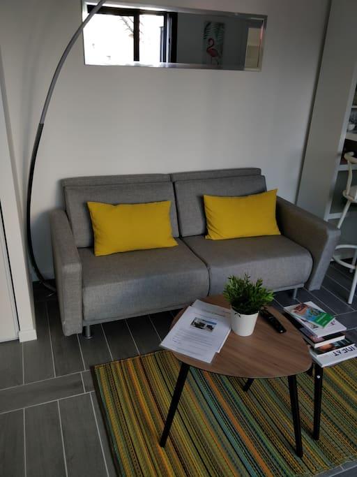 salon - salle à manger - canapé 2 places convertible - TV connectée - table basse - lumineux - climatisation - accès à la terrasse par 1 grande baie vitrée