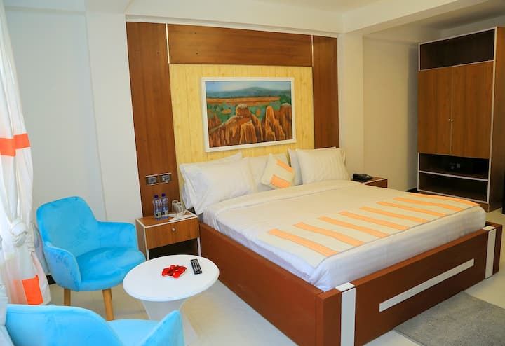 Double bed room with private kitchen and bathroom