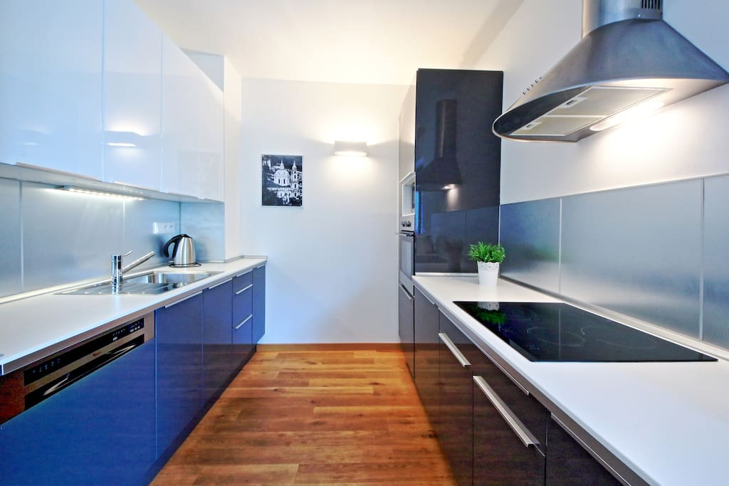 fully equipped kitchen - stove, oven, microwave, dishwasher, fridge, coffeemachine, etc.