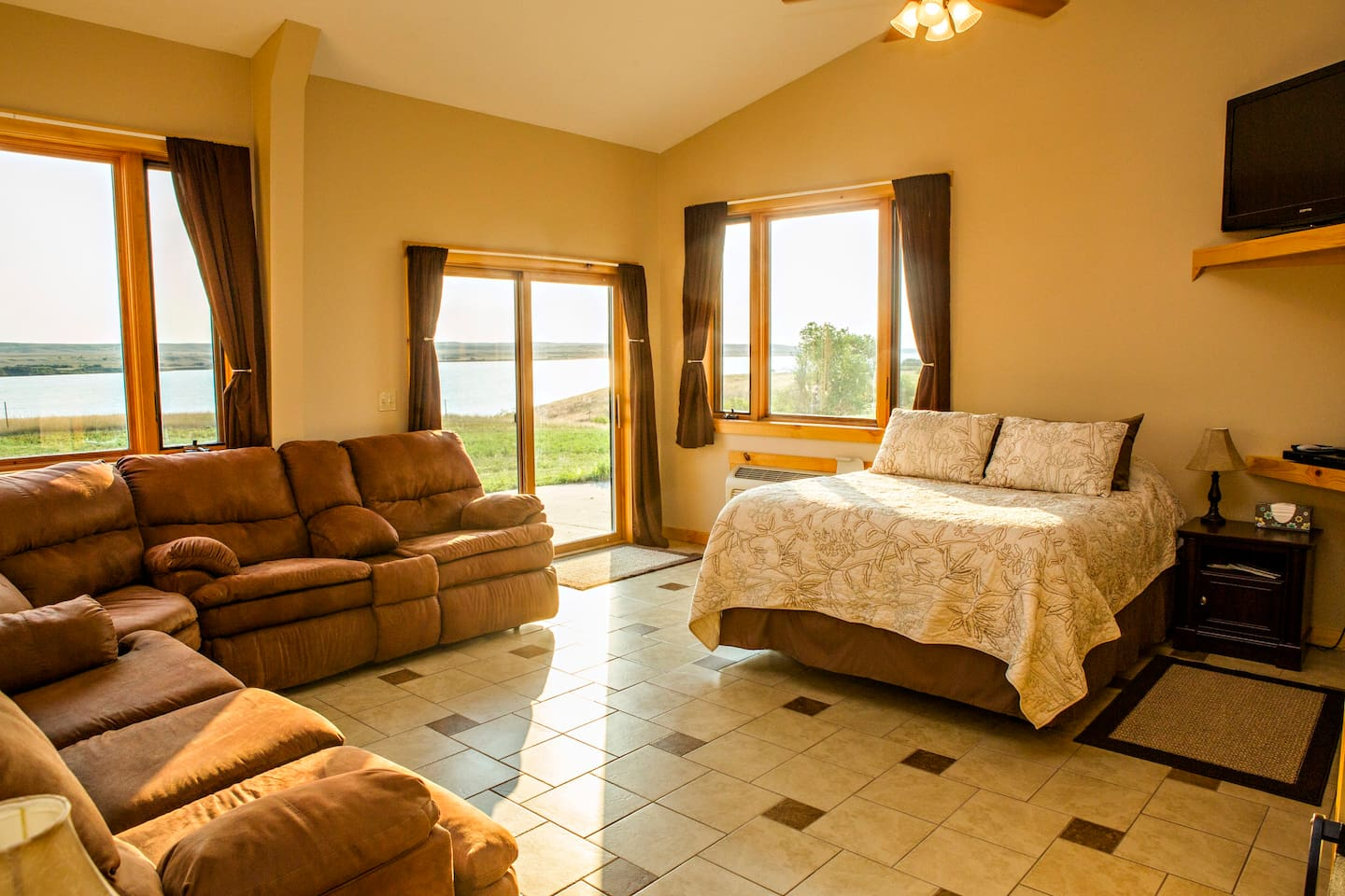 Our spacious suites are HUGE and feature waterfront views like all of our rooms.  Private patio access.