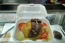 Churrasco (skirt steak) over Mofongo (mashed green platains) from Farmacia Americana.