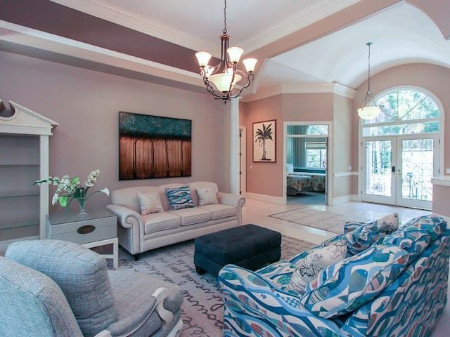 Sitting Room with Pool Deck Access at 26 Sea Lane