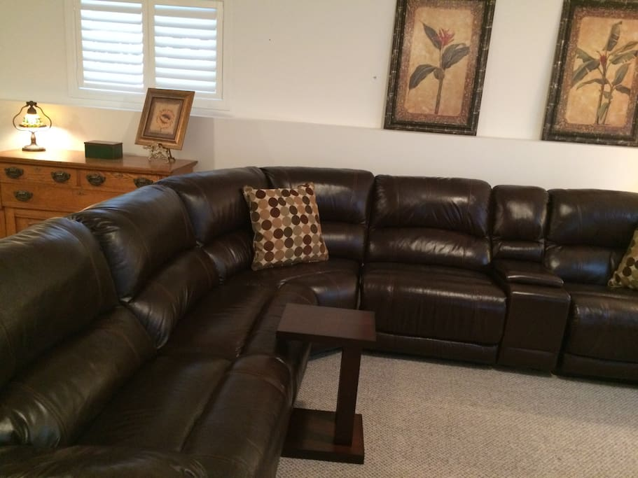 Sectional Leather couch with 3 recliners