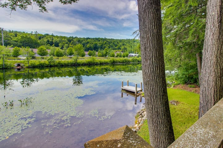Quaint lakefront home with a private deck, firepit, and dock!