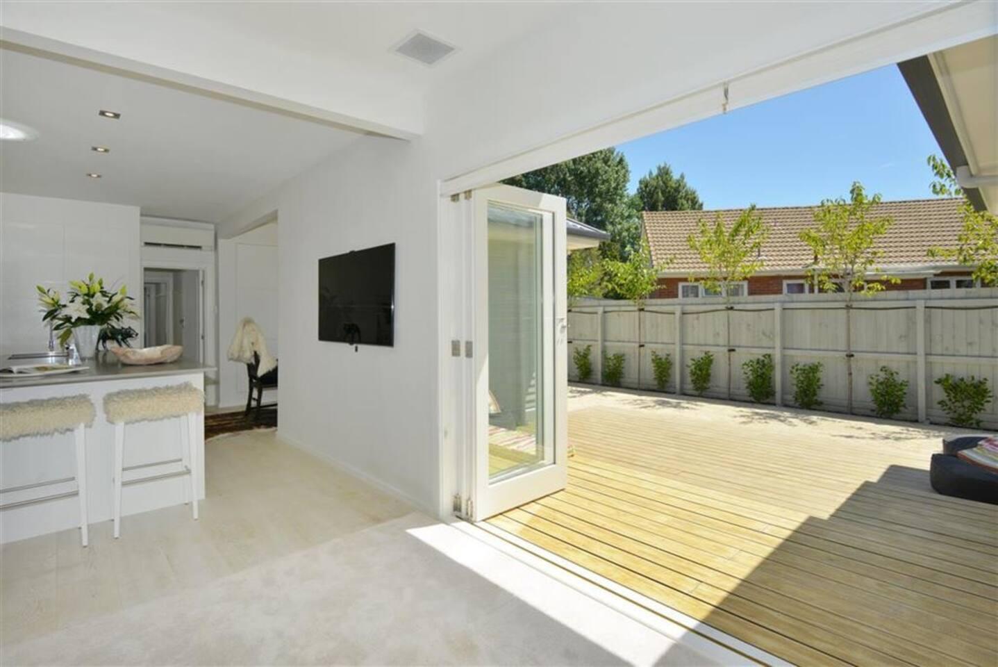 Deck, living, kitchen