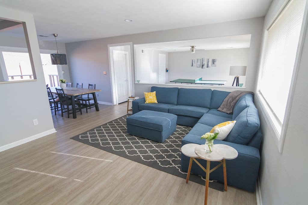 Living, dinning, and rec room