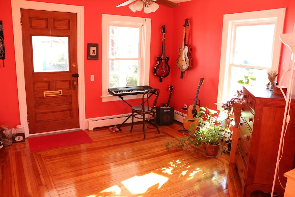 """Front entrance and """"music room"""" (we don't actually play, we just fool around)"""