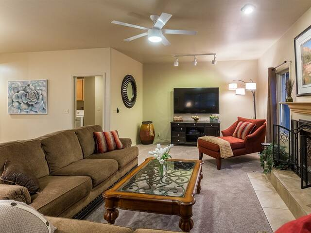 Large screen TV, HTDV and Tivo in second living room with full cable,  Netflix, Amazon and more