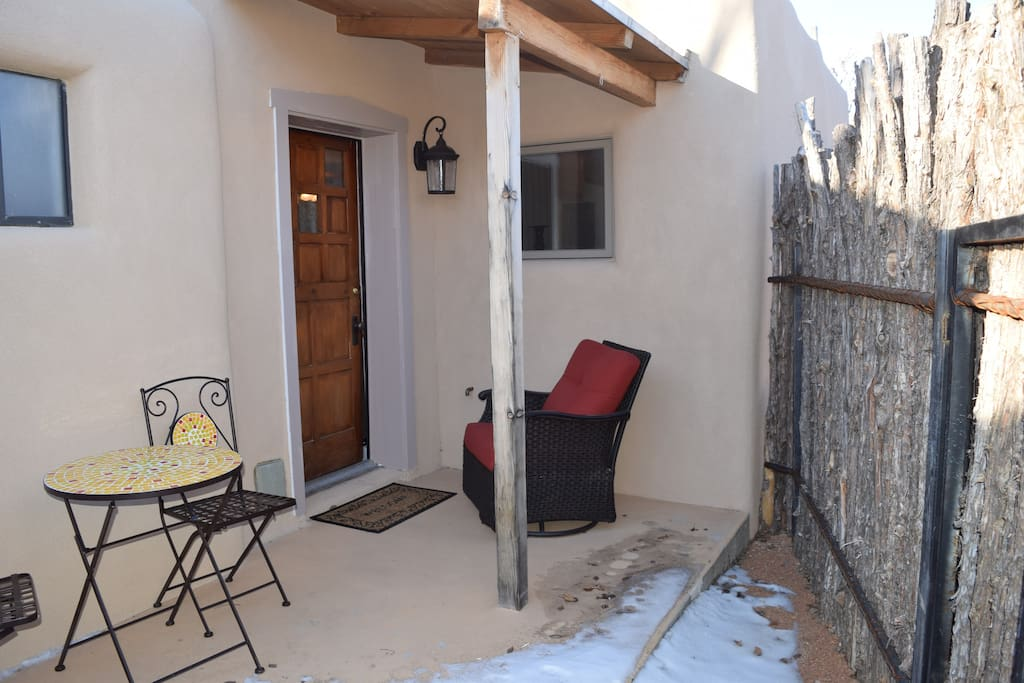 Another view of the front entrance to the casita. A coyote fence makes this private from the main house.