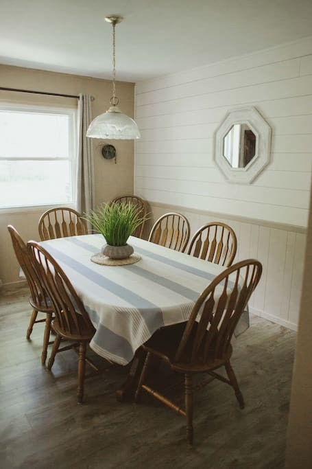 Dining room-table expands to seat 8. Booster seat available for your baby.