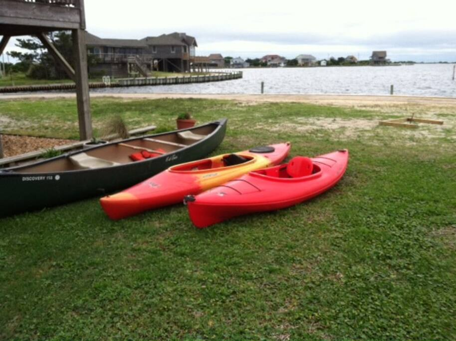 Kayaks and canoe