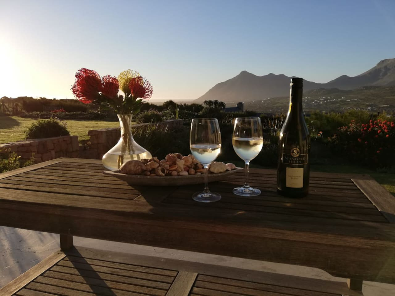 Watch the sun set over the Atlantic ocean each evening with a chilled glass of wine.