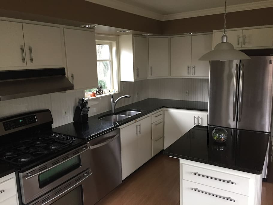 Large updated kitchen with stainless steel appliances.
