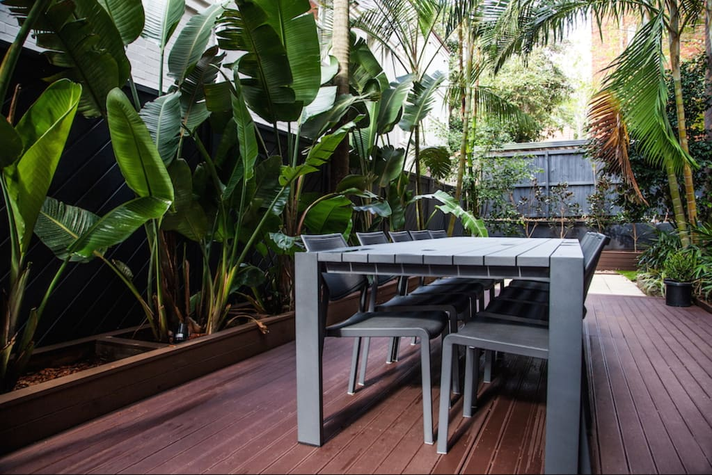 Outdoor area and table seating up to 12 people