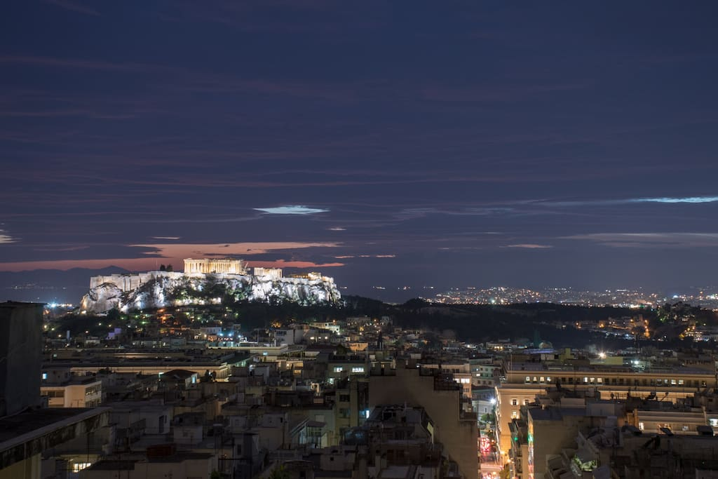 The Acropolis view, after sunset